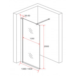 Aloni Eco Walk- In Shower Wall Clear Glass 8 mm (BXH) 1400 x 2000 mm - ECO140 - 2
