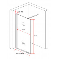 Aloni Eco Walk- In Shower Clear Glass 10 mm (BXH) 1600 x 2000 mm - ECO160 - 2