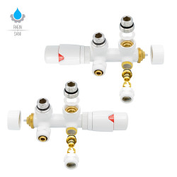 Connection Set Middle Connection 50mm Radiator Thermostat Multiblock Corner - Pipes from wall White - BLR314 - 0