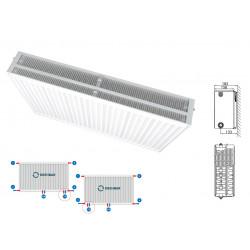 Heizkörper Mittelanschluss Kompakt & Ventilheizkörper Typ 33 400x1400 & Halter & - M334001400 - 0