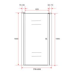 Aloni shower door / niche door shower clear glass 80 cm 6 mm 77-81 x 1900mm - CR043-80 - 1