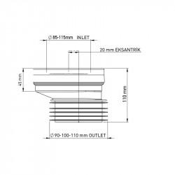 WC Anschlußstutzen Exzentrischer Anschluss Abfluss Rohr Versatz Stutzen ø90 20mm - 1020 - 1