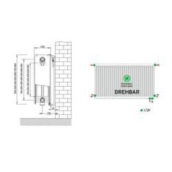 Universalheizkörper Kompakt Ventilheizkörper 300x800 T22 & Halter & Ventil NEU - ST-E22300800 - 4
