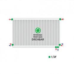 Belrad Type 22 Universal radiator valve radiator medium connector with 6 connections 300 x 1000 (HXB) -982W - ST-E223001000 - 3