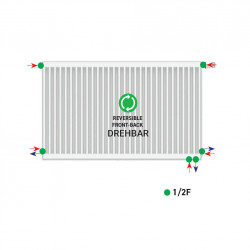 Belrad Type 22 Universal radiator valve radiator center connection with 6 connections 500 x 2200 (HXB) -3287W - ST-E225002200 - 3