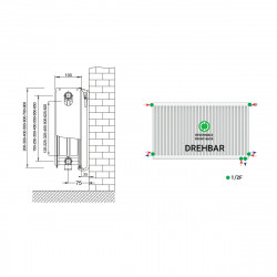 Belrad Type 22 Universal radiator valve radiator medium connector with 6 connections 500 x 2800 (HXB) -4183W - ST-E225002800 - 4