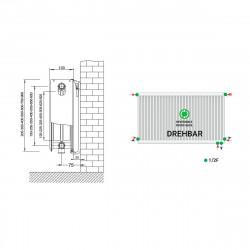 Universalheizkörper Kompakt Ventilheizkörper 600x1800 T22 & Halter & Ventil NEU - ST-E226001800 - 4