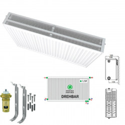 Universalheizkörper Kompakt Ventilheizkörper 500x1000 T33 & Halter & Ventil NEU - ST-E335001000 - 0