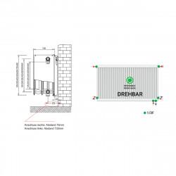 Universalheizkörper Kompakt Ventilheizkörper 500x1200 T33 & Halter & Ventil NEU - ST-E335001200 - 4