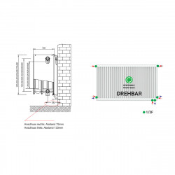 Universalheizkörper Kompakt Ventilheizkörper 600x1600 T33 & Halter & Ventil NEU - ST-E336001600 - 4