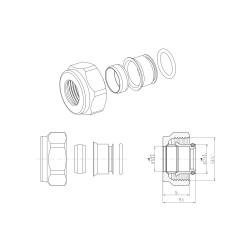 "2 x Klemmringverschraubung Messing weiß 3/4"" für Kupferrohre Eurokonus 15mm - BLR220 - 1"