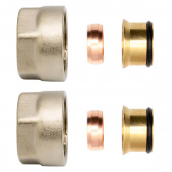 """2x clamping screw fitting brass nickel plated 3/4 """"for copper pipes Euroconus 15mm - BLR215M - 0"""