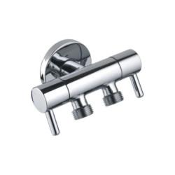 "Aloni double corner valve brass chrome valve corner valve shut-off valve 1/2 ""x 3/8"" x 3/8 "" - TM69140 - 0"