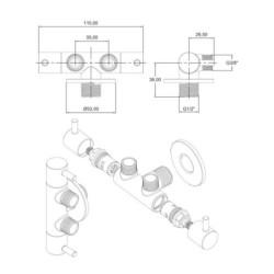 "Aloni double corner valve brass chrome valve corner valve shut-off valve 1/2 ""x 3/8"" x 3/8 "" - TM69140 - 2"