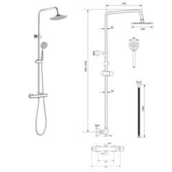 Brausegarnitur Duschpaneel Regendusche mit Kopfbrause chrom rund Duschsystem - OPT1 - 3