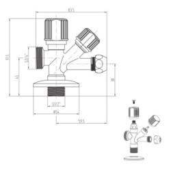 "Eckventil Kombiventil Geräteanschlussventil 1/2"" x 3/4"" x 3/8"" - 13320 - 3"