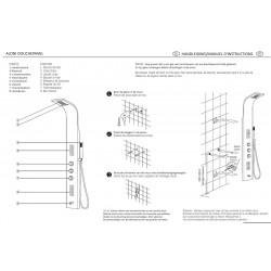 Duschpaneel Duschsäule 5 Funktionen mit Thermostatventil chrom 160x20x6,5 cm - ZLC101 - 5