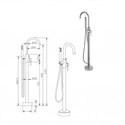Aloni stand faucet for freestanding bathtubs Bath tap chrome - CR6057-2 - 4