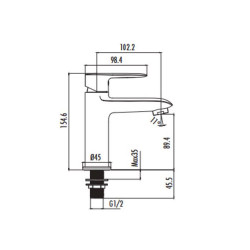 """Cold water tap single lever 1/2 """"chrome - VG1500 - 1"""