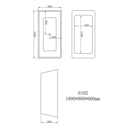 Aloni quadro freestanding bathtub acrylic white square 180 x 80 cm - FB6102 - 6