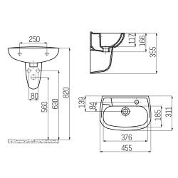 Ceramic Basin Hand Basin Guest Bathroom Wall Mounting 45x30cm - TP030-00CB00E-0000 - 1