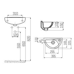 Ceramic Basin Hand Basin Guest Bathroom Wall Mounting 39x23cm - TP040-00CB00E-0000 - 1