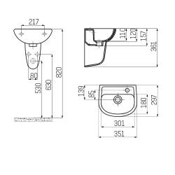 Ceramic Basin Hand Basin Guest Bathroom Wall Mounting 35x30cm - TP135-00CB00E-0000 - 1