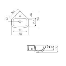 Creavit Eck- Washbecken Wandmontage VT145 / 45x45cm - VT145-00CB00E-0000 - 2