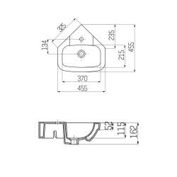 Creavit Eck- Washbecken Wandmontage VT145 / 45x45cm - VT145-00CB00E-0000 - 3
