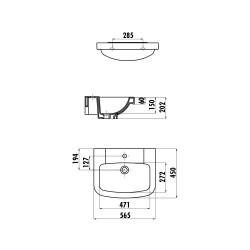 Creavit ceramic washbasin with stitch hole 56x45 cm white - VT056-00CB00E-0000 - 1