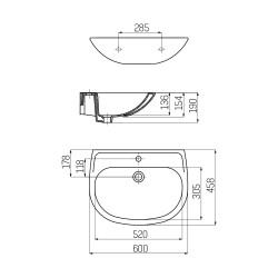 Creavit Sedef ceramic washbasin vanity with tap hole white 60x45cm - SD060-00CB00E-0000 - 1