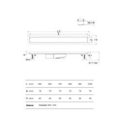 Aloni Duschrinne Schwarz Glas 50cm - AL-DR2050 - 7