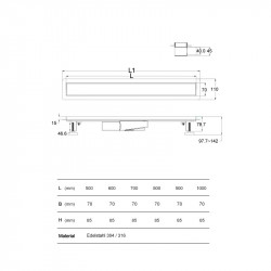 Aloni Duschrinne Schwarz Glas 100cm - AL-DR2100 - 7
