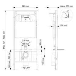 Belvit Trockenbau Vorwandelement, Montageelement für Wand-WC - BV-VR2001 - 1