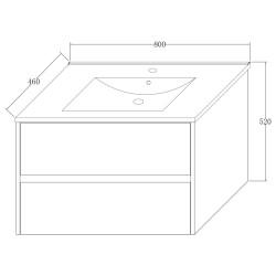 Hayat Bathroom Base cabinet 80 cm oak + washbasin - KEY3480-80 - 4