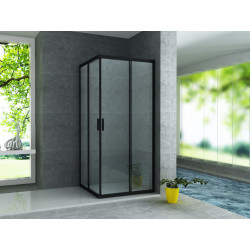 Aloni shower cubicle corner entry frame black matt (BXBxH) 800 x 800 x 1900 mm - CR-B8080 - 0