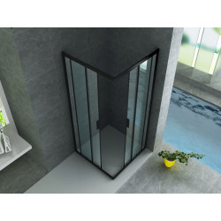 Aloni Duschkabine Eckeinstieg Rahmen Schwarz Matt 80x80x190 - CR-B8080 - 1