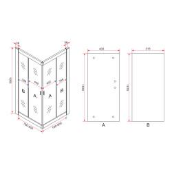Aloni Duschkabine Eckeinstieg Rahmen Schwarz Matt 80x80x190 - CR-B8080 - 4
