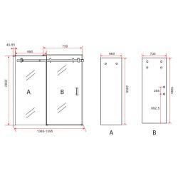 Aloni niche door sliding door black matt 8 mm (BXH) 1400 x 2000 mm - CR-045A14 - 5