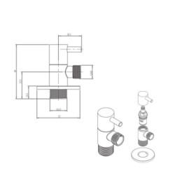"Aloni corner valve corner regulating valve Delta 1/2 ""x 3/8"" - 13003-38 - 1"