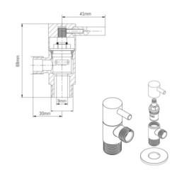 """Aloni corner valve corner regulating valve 1/2 """"x 1/2"""" - 13003-12 - 1"""