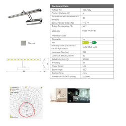 Aloni Mirror LED Lighting 4W 4200K LED 100-250V - PML-12 - 3