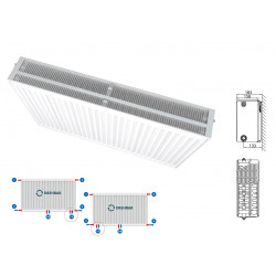 Belrad Type 33 Universal radiator valve radiators Center connection with 8 connections 500 x 1400 (HXB) -2878W - M335001400 - 0