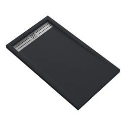 Veroni Elite Duschtasse Kompositstein flach (TxBxH) 160 x 90 x 3 cm Schwarz - SE916Z - 0