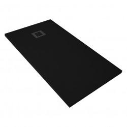 Veroni shower tray made of composite stone with slate pattern flat (TXBXH) 160 x 90 x 3 cm black - SL916Z - 6