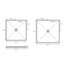 Veroni Duschwanne aus Kompositstein mit Schiefer-Muster flach (TxBxH) 120 x 80 x 3 cm Weiß - SL812W - 3