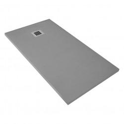 Veroni shower tray made of composite stone with slate pattern flat (TXBXH) 160 x 90 x 3 cm gray - SL916G - 6