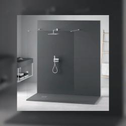 Veroni shower tray made of composite stone with slate pattern flat (TXBxH) 120 x 90 x 3 cm gray - SL912G - 1