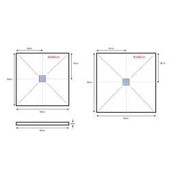 Veroni Duschwanne aus Kompositstein mit Schiefer-Muster flach (TxBxH) 120 x 80 x 3 cm Grau - SL812G - 3