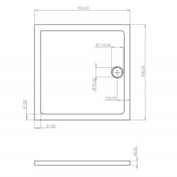Shower tray Acrylic bathtub Bathroom Flat Acrylic Square 90 90 - SW-30904 - 3